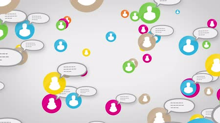 Social network white users, sms, messages, loop, media concept, white background,