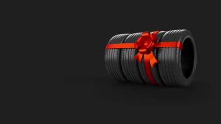 pneus : Four tyre isolated on grey with animated motion use it for sale present or gift element due to the ideal mask