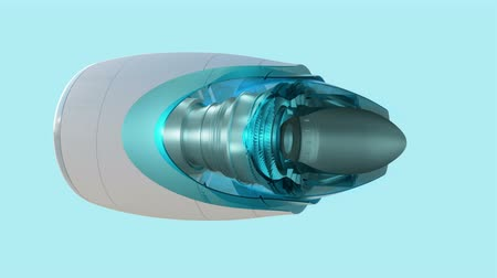 türbin : Commercial jet engine animation cross section view with working engine look at thrust flow fan blades Stok Video