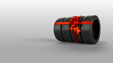 stuha : Tyre tire isolated on white animated present gift with mask