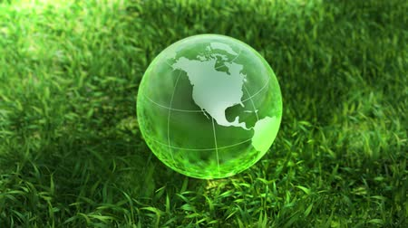 sembol : Ecology environment concept, glass globe in the green grass