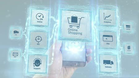 seo : Show online on line shopping commerce business electronic use with mobile devices, scheme concept. White background.