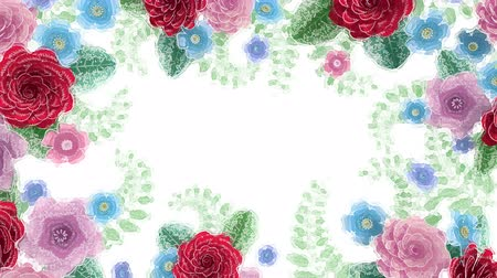 Watercolor drawing flowers growing, appearing, botanical background, decorative frame, blank space for text, aqua style cartoon, diy project, intro, isolated on white background, ideal for title