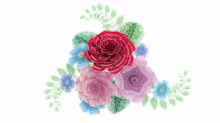 3d rendering, growing floral background flowers, blooming botanical pattern, watercolor drawing style, bridal round bouquet, pastel colors, bright hue palette, animation isolated on white background Dostupné videozáznamy