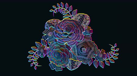 3d rendering, growing floral black background flowers, blooming botanical pattern, night neon style, bridal round bouquet, disco, acid, fashion, bright hue palette, 4k animation