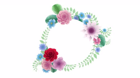 neve : 3d rendering, growing floral background flowers, blooming botanical circle frame, bridal round title place, pastel colors, animation, diy project, intro, isolated on white background, ideal for title