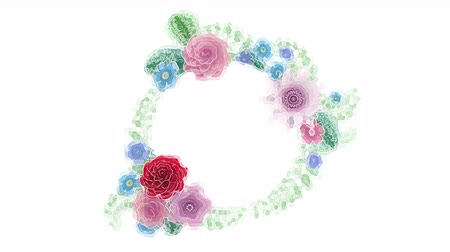 Watercolor drawing growing floral background flowers, blooming botanical circle frame, round title place, aqua colors, animation, diy project, intro, isolated on white background, ideal for title