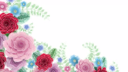 guache : Watercolor drawing flowers growing, appearing, botanical background, decorative corner frame, blank space for text, aqua style cartoon, diy project, isolated on white background, ideal for title Stock Footage