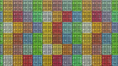 Stack of containers in a harbor, shipping at dockyard, logistic import and export, in colorful bright color, seamless loop, front wall view