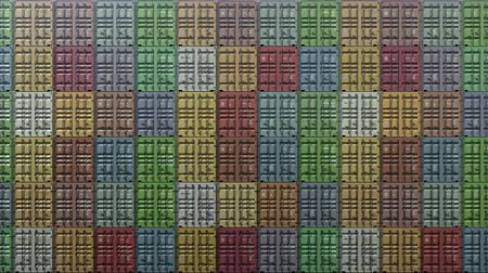 Stack of containers in a harbor, shipping at dockyard, logistic import and export, in normal color, seamless loop, front wall view Dostupné videozáznamy