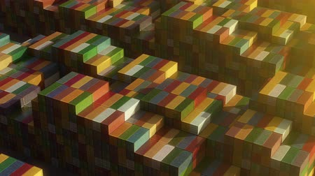 Stack of containers in a harbor, shipping at dockyard, logistic import and export, sunset light, seamless infinite loop, isometric view