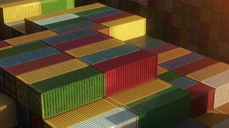 Stack of containers in a harbor, shipping at dockyard, logistic import and export, sunset light, seamless infinite loop, isometric close up view