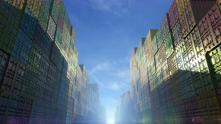 Stack of containers in a harbor, shipping at dockyard, logistic import and export, sun dramatic light, day light summer long shadows view between the rows