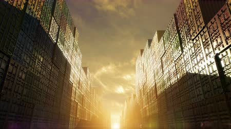 dockyard : Stack of containers in a harbor, shipping at dockyard, logistic import and export, sunset dramatic light, surreal fabulous beautiful view between the rows