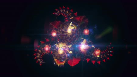 Motion design blooming digital flower in poisoned red warm purple fashion colors.
