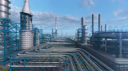 Oil and gas refinery plant factory, industry petroleum zone, pipe steel and oil storage tank at blue day sky. Abstract smooth camera move, aerial drone fly over plant shot. 3D generated image.