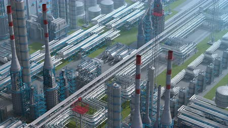 Oil and gas refinery plant factory, clear isometric view, industry petroleum zone, pipe steel and oil storage tank. Aerial drone fly over plant shot. 3D generated image. Ideal background shot plan.