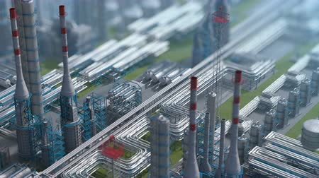 Oil and gas refinery plant factory, clear isometric view, defocus shot, industry petroleum zone, pipe steel and oil storage tank. Aerial drone fly over plant shot. 3D generated image. Background plan.
