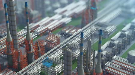 poluir : Oil and gas refinery plant factory, isometric view, orange defocus plan, industry petroleum zone, pipe steel and oil storage tank. Aerial drone fly over plant shot. 3D generated image. Background plan Stock Footage