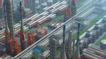 petróleo : Oil and gas refinery plant factory, clear isometric view, orange, red industry petroleum zone, pipe steel and oil storage tank. Aerial drone fly over plant shot. 3D generated image. Background plan.
