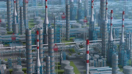 Oil and gas refinery plant factory, orbit view, industry petroleum zone, pipe steel and oil storage tank. Aerial drone fly over plant shot. 3D generated image. Ideal background plan.