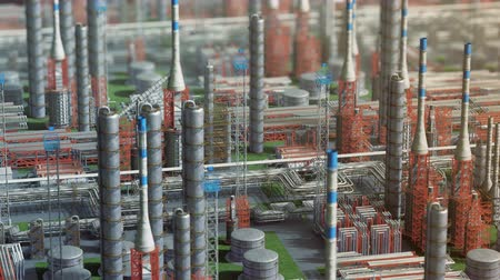 Oil and gas refinery plant factory, orbit view, red orange defocus plan, industry petroleum zone, pipe steel and oil storage tank. Aerial drone fly over plant shot. 3D generated image. Background plan