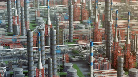Oil and gas refinery plant factory, orbit view, red orange, industry petroleum zone, pipe steel and oil storage tank. Aerial drone fly over plant shot. 3D generated image. Ideal background plan. Dostupné videozáznamy
