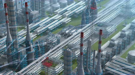 нефтехимический : Oil and gas refinery plant factory with chemical formula design, isometric view, industry petroleum zone, pipe steel and oil storage tank. Aerial drone fly plant shot. 3D generated image. Background. Стоковые видеозаписи