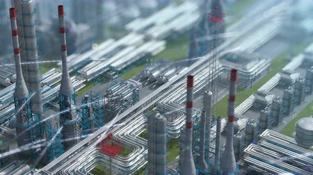 rozsdamentes : Oil and gas refinery plant factory with chemical formula design, clear isometric view, defocus shot, industry petroleum zone, pipe steel and oil storage tank. Aerial drone fly 3D generated background Stock mozgókép