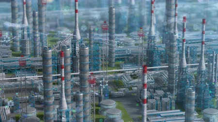 petróleo : Oil and gas refinery plant factory with chemical formula design, orbit view, defocus shot, industry petroleum zone, pipe steel and oil storage tank. Aerial drone fly, plant shot. 3D generated image.