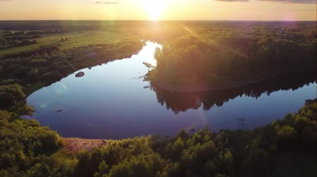 tlen : Aerial three ecological forest sunset beautiful shots. Ideal background for forest conservation, save biology and nature, save lakes and rivers, ecology theme. Global warming and forest fire theme.
