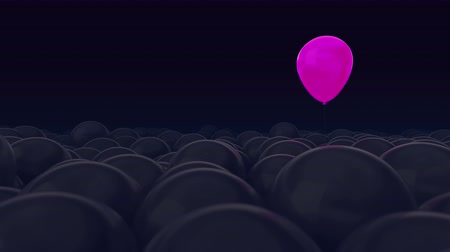 personalidade : One pink balloon is opposed by many other balloons. Dark purple background. Ideal title text background. One against all. Concept ideas. The concept of personality. Use mask to easy change color.