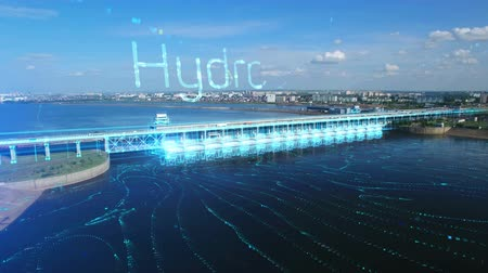 turbina : An aerial view a of the hydroelectric power station with hydroelectricity text label and flowing river. 3D infographic elements illustrate working generators. The blue concept of hydropower.