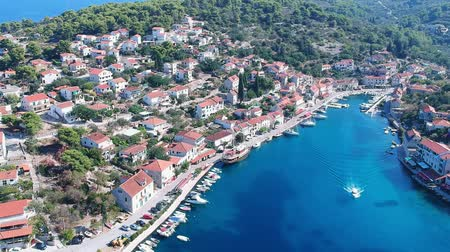 fisher : Amazing aerial bird view of the island Solta is an island in Croatia. Adriatic sea fisherman village in the central Dalmatian archipelago, near Split.