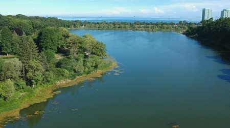 napfény : Aerial fly view of the lake at summer sunny hot day. Stock mozgókép