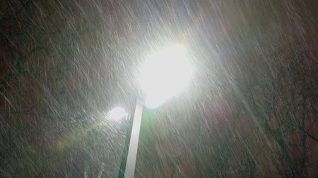 prędkość : Extreme snow storm and wind gust in the city against street lights or lamps, exposing direction of the snowflakes speed and movement. Night. Wideo