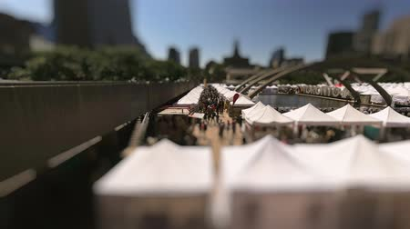 tilt shift : Tilt-shift timelapse of people in the city. Time-lapse crowd walking. Time lapse of tourists wonder around. Toronto, Canada. 4k.