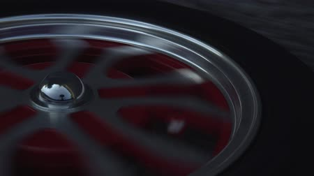 arka görünüm : Close up of a wheel spinning while riding electric scooter. Modern transportation gadget and popular device among people. Stok Video