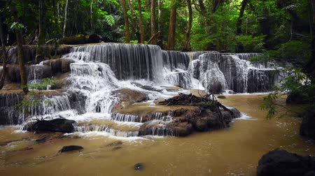 huai : Huai Mae Kamin, beautiful waterfall, travel destination,  in Kanchanaburi, Thailand