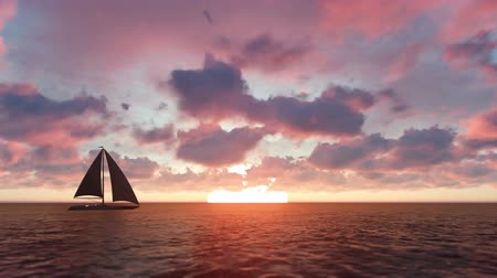horizont : Sailing yacht in the sea at sunset Stock mozgókép