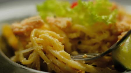 spagetti : gourmet pasta meal. traditional italian food. healthy dinner. long spaghetti on fork