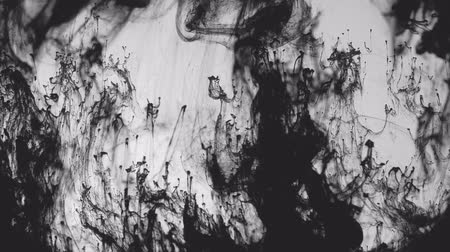 inkoust : Black ink motion in water. Environmental pollution. Paint swirling motion mixing and blending