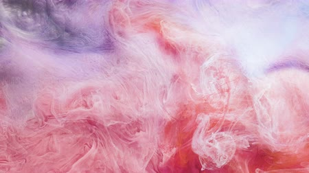 rozptyl : Mixed inks cloud motion. Abstract paints animation in water. Colorful smoke fusion