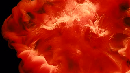 rozptyl : Ink motion in black fluid. Red paint swirling storm. Abstract explosion cloud animation Dostupné videozáznamy