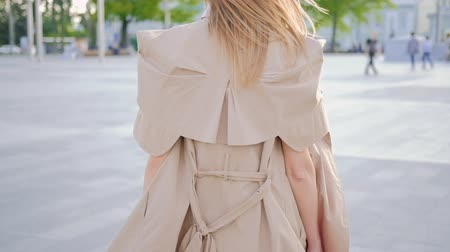 честолюбивый : Business woman walking in the city. Stylish confident female back view