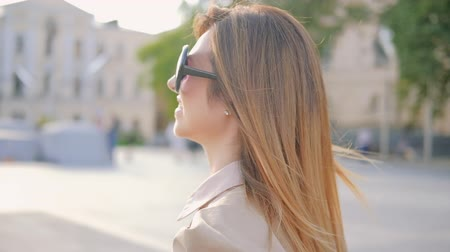 follow shot : Female power. Confident stylish business woman walking in the city Stock Footage