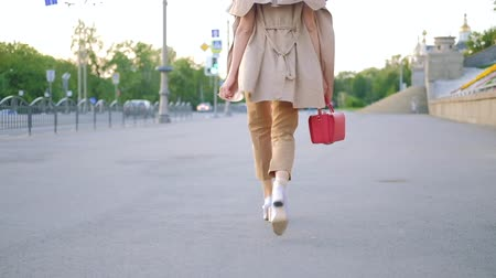 follow shot : Female power. Confident stylish business woman walking in the city. Fashionable outfit and red purse