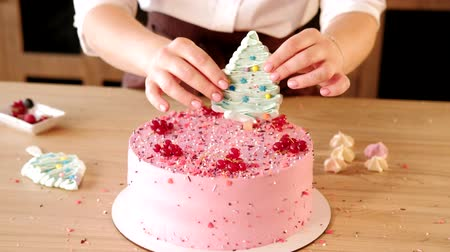 dekoratör : Pastry cooking workshop. Confectioner adding festive sugar decor on pink cake Stok Video