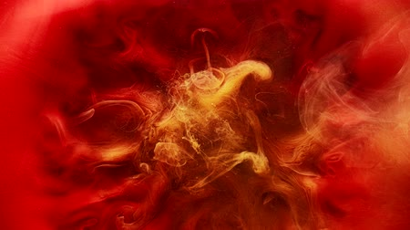 yellow ink cloud : Paint motion. Fantasy cloud. Red yellow ink blend. Abstract smog flow.