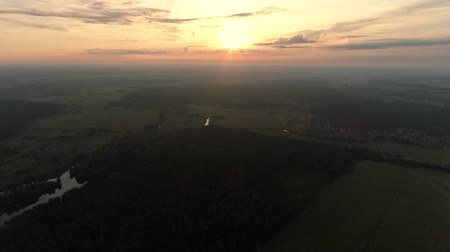 origin : Countryside sunrise aerial shot. New beginnings achievement. Rural landscape. Blur sky lens flare. Stock Footage